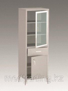 Шкаф медицинский металлический одностворчатый с двумя отделениями и одним выдвижным ящиком