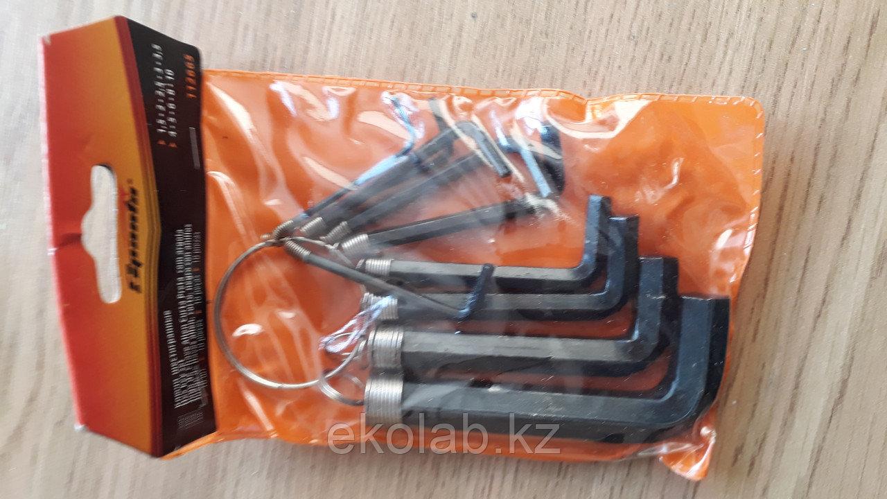 Набор ключей имбусовых HEX, SPARTA 112665 (1,5–10 мм, CrV, 10 шт, оксидированные, на кольце)