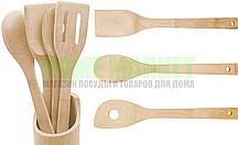Набор деревянных ложек и лопаток в стаканчике (5-предметов).