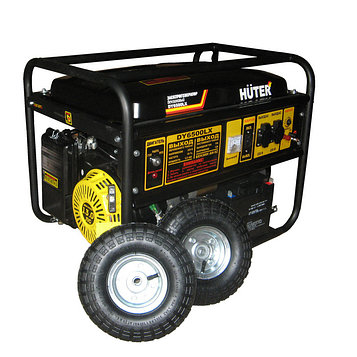 Электрогенератор Huter DY6500LX, с колёсами и аккумулятором, 5/5.5 кВт, 22 л, 220 В