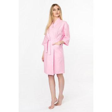 Халат вафельный женский «Экономь и Я» рукав 3/4, цвет розовый р. 50-52, хл 100%, 200 г/м²