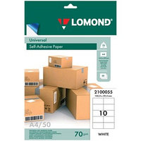 Этикетка самоклеящаяся LOMOND 2100055 на листе формата А4, 10 этикеток, размер 105х59,4 мм, белая, 50 листов