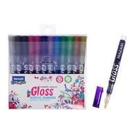 Набор маркеров-красок Mazari Gloss, 12 цветов, металлик