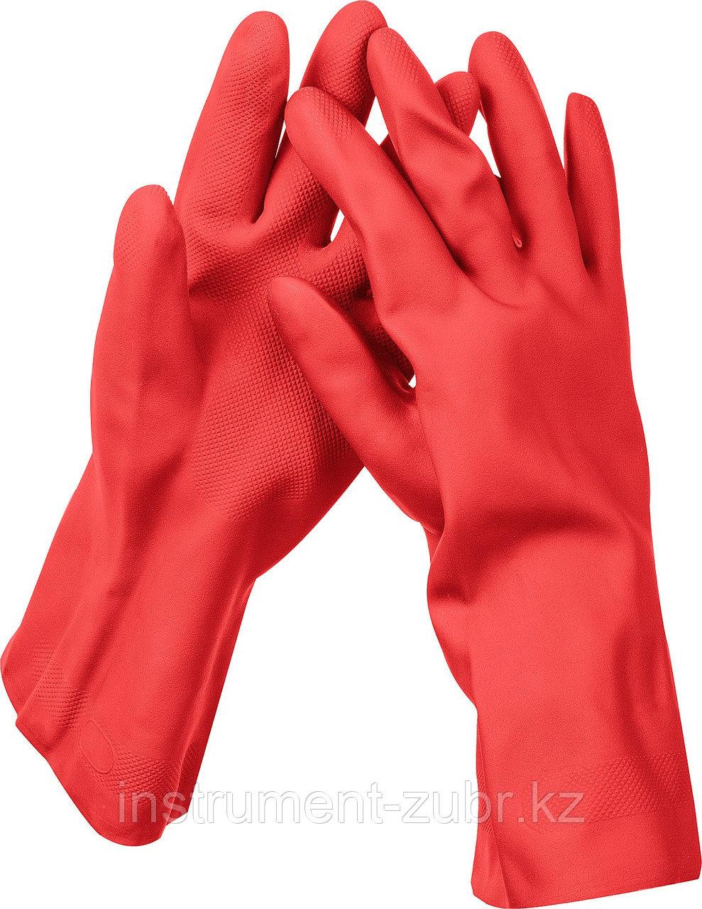 Перчатки латексные ЗУБР ЛАТЕКС хозяйственно-бытовые, стойкие к кислотам и щелочам, размер M