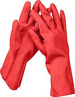 Перчатки латексные ЗУБР ЛАТЕКС хозяйственно-бытовые, стойкие к кислотам и щелочам, размер S