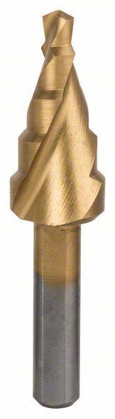 Ступенчатое сверло с трехгранным хвостовиком Bosch HSS-TiN 4-12 мм, 5 ступеней