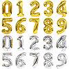Шары  Фольга Цифры Золото , Серебро,  Цветные  (32 дюйма)