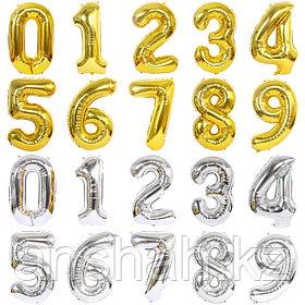 Шары  Фольга Цифры Золото , Серебро,  Цветные   (40дюймов)