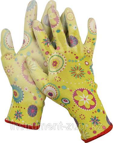 Перчатки GRINDA садовые, прозрачное PU покрытие, 13 класс вязки, зеленые, размер L, фото 2