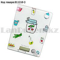 Кухонные электронные весы настольные прямоугольные мини с дисплеем c рисунком кухонных предметов