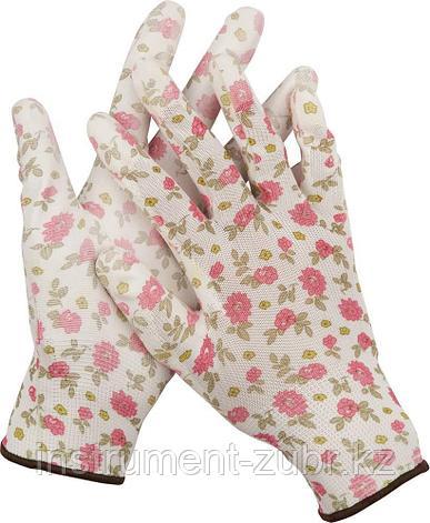 Перчатки GRINDA садовые, прозрачное PU покрытие, 13 класс вязки, бело-розовые, размер S, фото 2