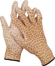 Перчатки GRINDA садовые, прозрачное PU покрытие, 13 класс вязки, коричневые, размер S