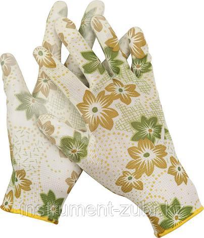 Перчатки GRINDA садовые, прозрачное PU покрытие, 13 класс вязки, бело-зеленые, размер M, фото 2