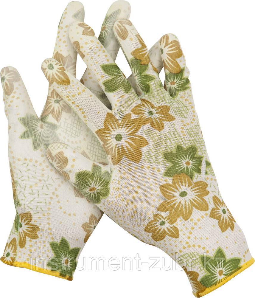 Перчатки GRINDA садовые, прозрачное PU покрытие, 13 класс вязки, бело-зеленые, размер S