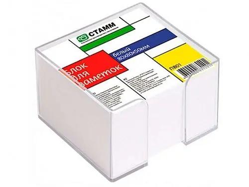 Блок для записей СТАММ белый в подставке 8х8х5 см, фото 2