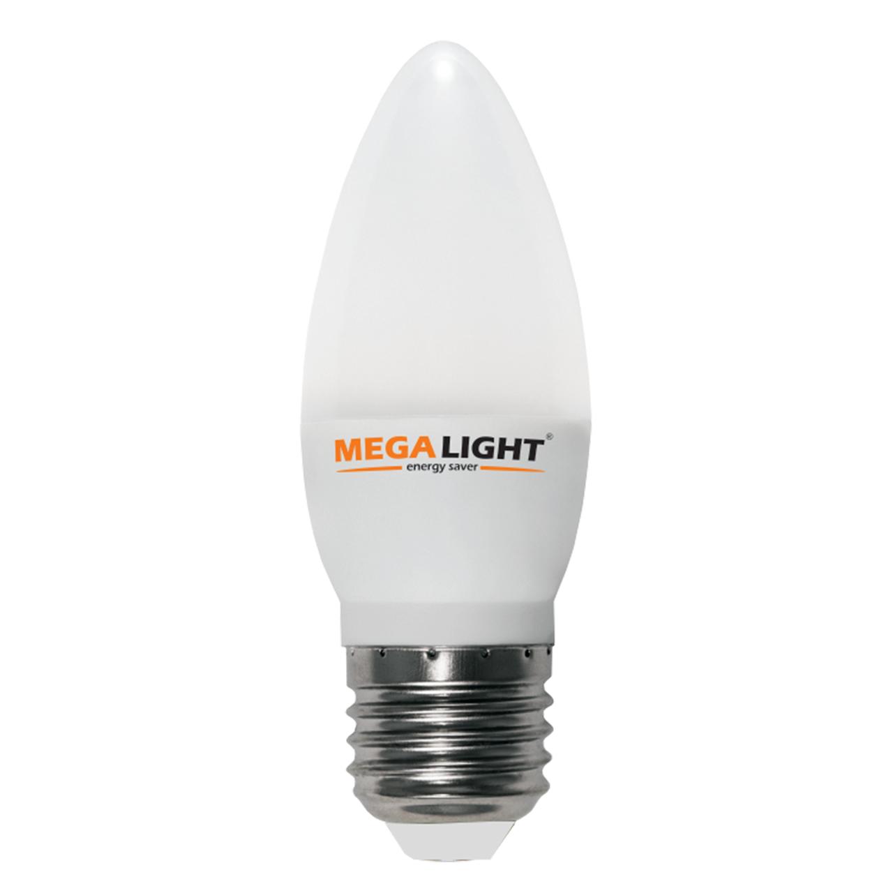 "Лампа LED C37 ""Свеча"" 10w 230v 6500K E27 MEGALIGHT (10/100)"