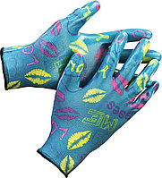 Перчатки GRINDA садовые, прозрачное нитриловое покрытие, размер L-XL, синие
