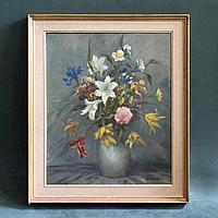 «Натюрморт с цветами» Автор Жюль де Корт (фл. Jules De Cort )-(1918-1999)