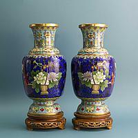 Парные вазы «ПИОНЫ». Китай. Середина ХХ века Бронза, литье, перегородчатая эмаль (клуазоне)
