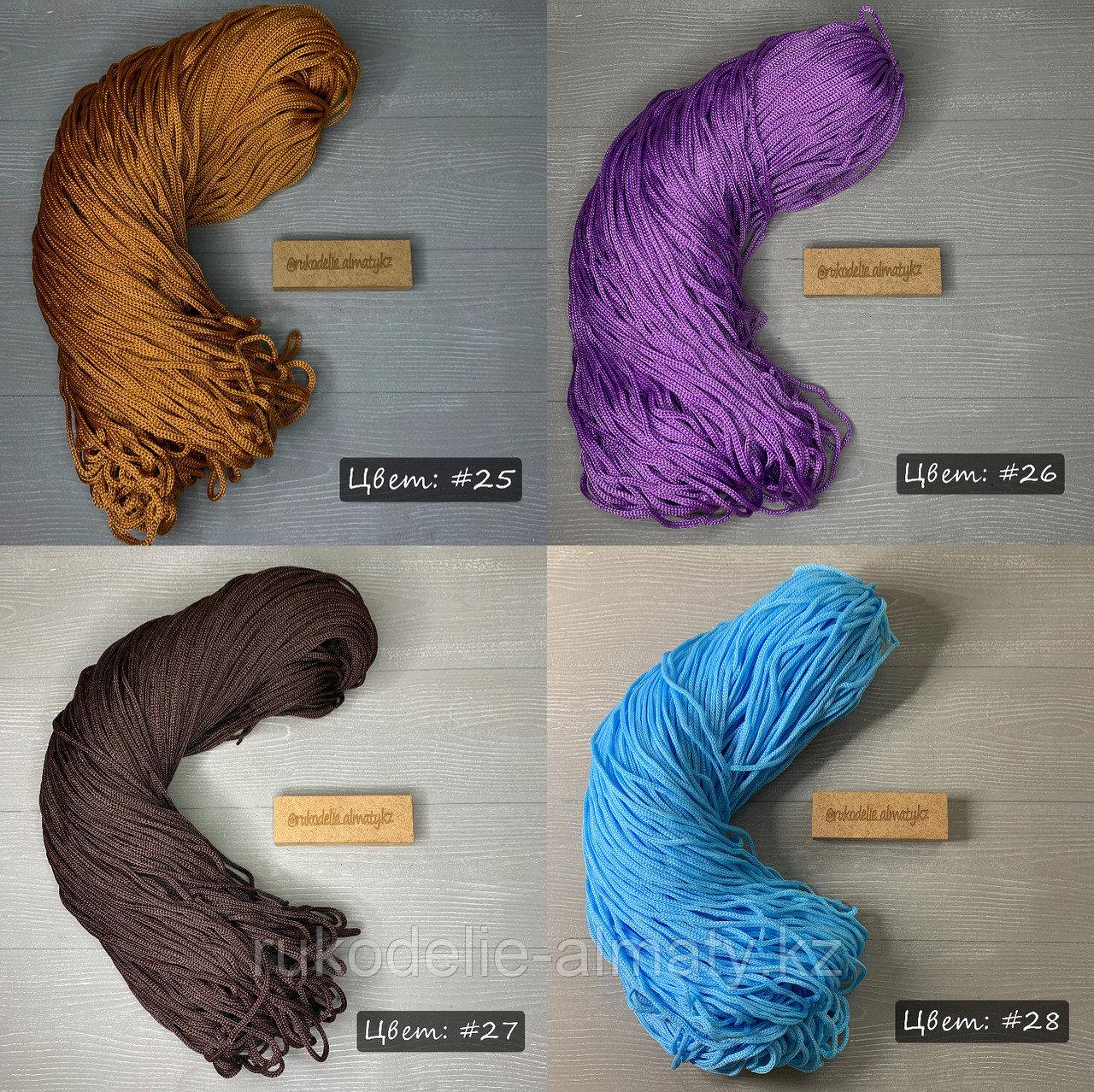Полиэфирный шнур без сердечника, 3мм, пасма коричневый - фото 4