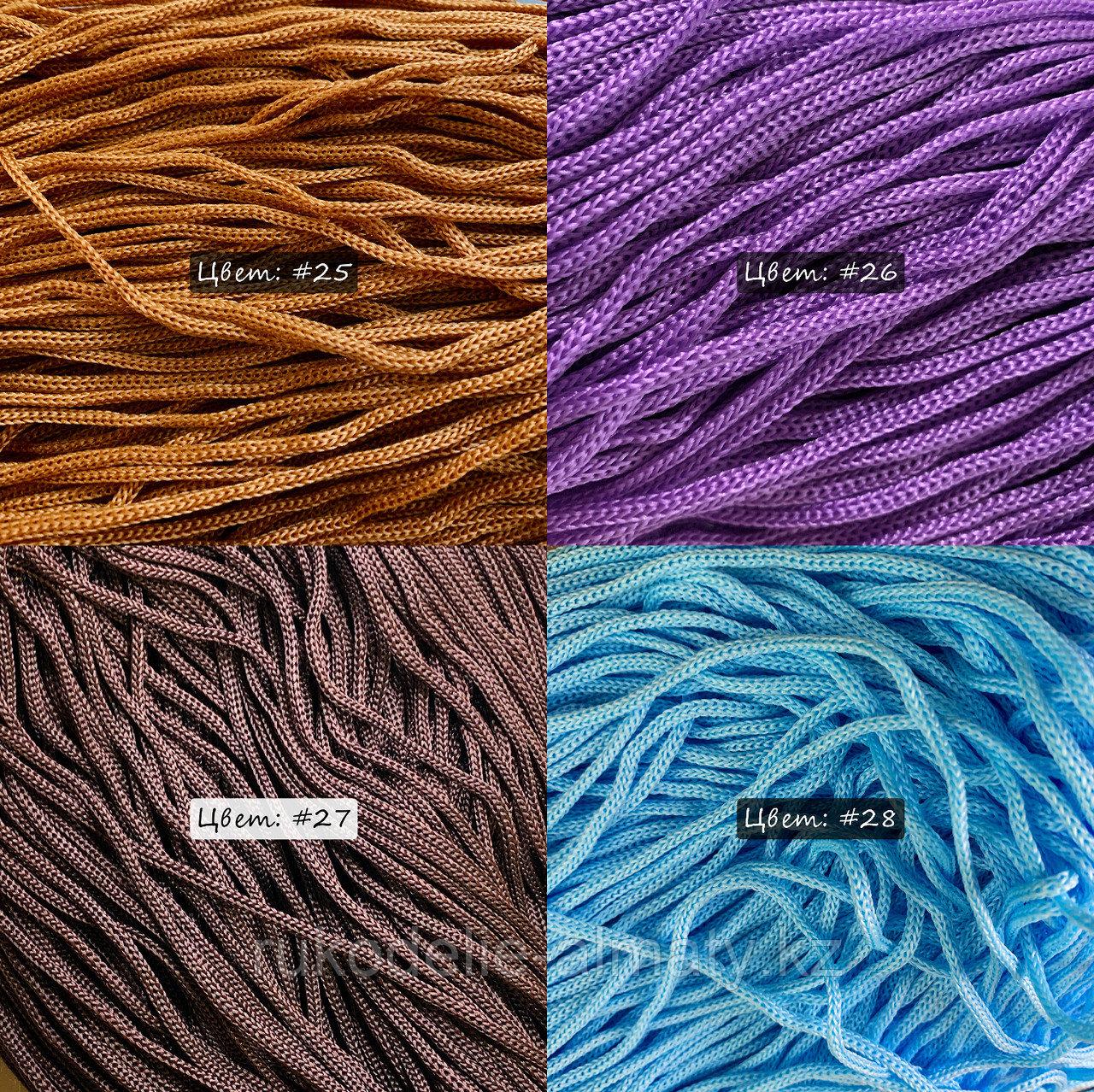 Полиэфирный шнур без сердечника, 3мм, пасма коричневый - фото 3