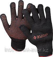 Перчатки трикотажные утепленные ЗУБР МАСТЕР, размер L-XL, с ПВХ покрытием (точка), 10 пар в упаковке.
