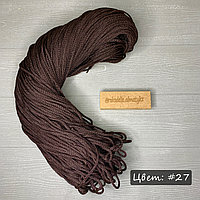 Полиэфирный шнур без сердечника, 3мм, пасма какао