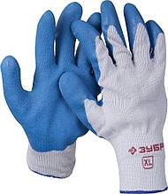 Перчатки ЗУБР рабочие с резиновым рельефным покрытием, размер XL