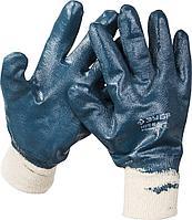 Перчатки ЗУБР рабочие с манжетой, с полным нитриловым покрытием, размер L (9)