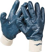 Перчатки ЗУБР рабочие с манжетой, с полным нитриловым покрытием, размер XL (10)