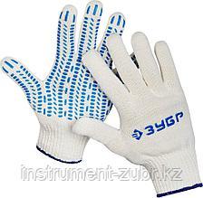 Перчатки ЗУБР трикотажные, 10 класс, х/б, с защитой от скольжения, L-XL, 10пар