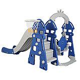 Горка-комплекс Pituso  ЗАМОК (горка, качели) (звук)185*146*122h Синий/ серый, фото 3