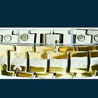Браслет из титана с лечебными вставками, с золочением 23-х каратным золотом