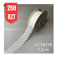 Кружево белое шелковое 32 мм, LC-08118
