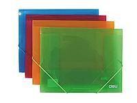 Папка на резинках DELI, A4 полупрозрачная, ассорти
