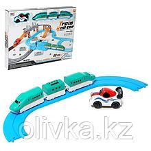 Железная дорога-автотрек «Большое путешествие», с машинкой и поездом, перекресток, светофор