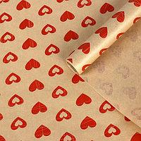 "Бумага упаковочная крафт ""Сердечки"", 0,6 х 10 м, 40 гр/м2"