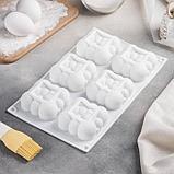 Форма для муссовых десертов и выпечки Доляна «Облачко», 30×18,8 см, 6 ячеек, цвет белый, фото 6