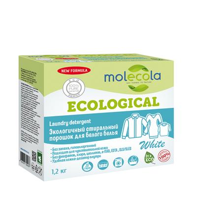 Стиральный порошок для белого белья с растительными энзимами, экологичный, 1,2кг, Молекола