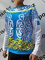 Свитшот Kazakhstan узор рукав белый, фото 1
