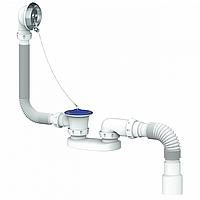 Cифон для ванны и глубокого поддона с переливом и гибким соединением д.40х40/50 400мм UNICORN S12