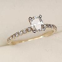 Золотое кольцо с бриллиантом 0.66Сt VS2/K Огранка Овал, фото 1