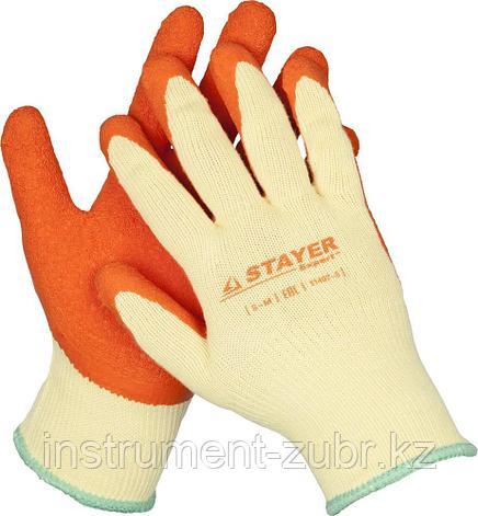 """Перчатки STAYER """"EXPERT""""  рабочие с рельефным латексным покрытием, 10 класс, S-M, фото 2"""