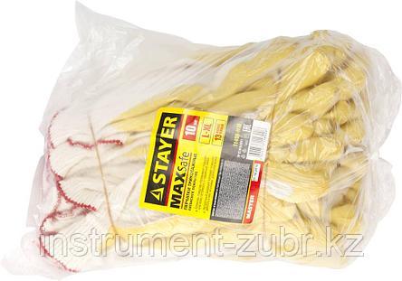 """Перчатки STAYER """"МASTER"""" MaxSafe трикотажные, обливная ладонь из латекса, х/б, 13 класс, L-XL, 10 пар, фото 2"""
