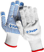 Перчатки ЗУБР трикотажные, 12 класс, х/б, с защитой от скольжения, S-M