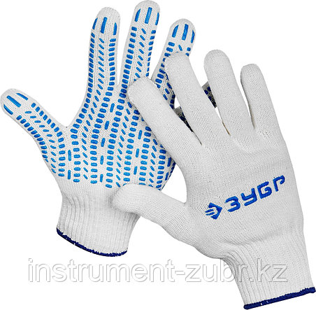 Перчатки ЗУБР трикотажные, 10 класс, х/б, с защитой от скольжения, S-M, фото 2