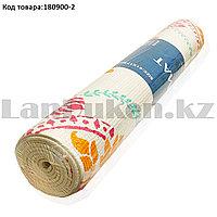 Коврик для йоги и фитнеса (йогамат) 4 мм 61х173 см с восточным узором белый с узором