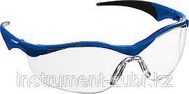 Очки защитные открытого типа ЗУБР Прогресс 7 Прозрачные, мягкие двухкомпонентные дужки.