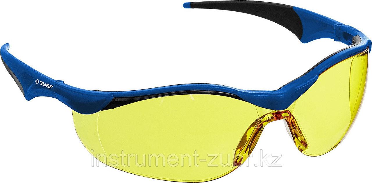 Очки защитные открытого типа ЗУБР Прогресс 7 Желтые, мягкие двухкомпонентные дужки.