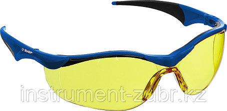 Очки защитные открытого типа ЗУБР Прогресс 7 Желтые, мягкие двухкомпонентные дужки., фото 2
